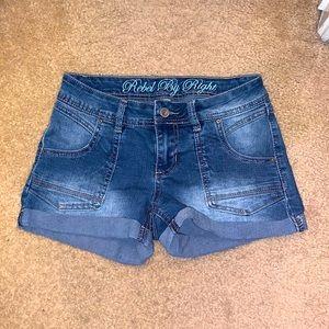 Cuffed blue Jean denim shorts